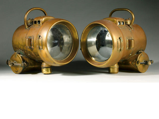 A pair of Powell & Hanmer self-generating acetylene headlamps, circa 1910,
