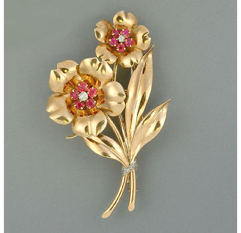 A ruby and diamond spray brooch