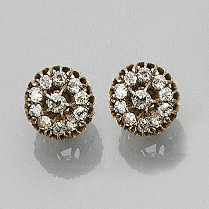A pair of late Victorian diamond cluster earrings,