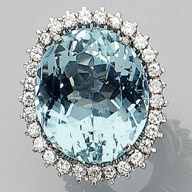 An aquamarine and diamond cluster ring,