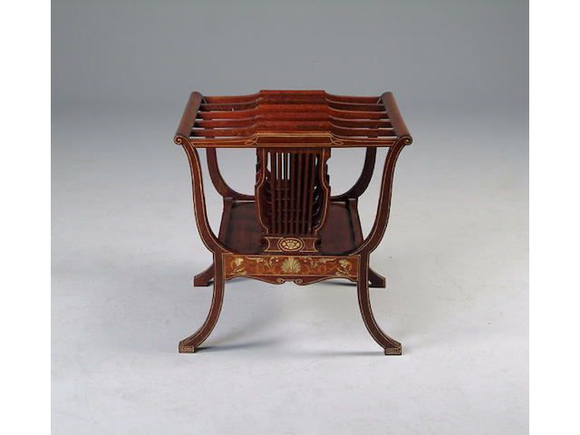 An Edwardian mahogany and inlaid five division canterbury