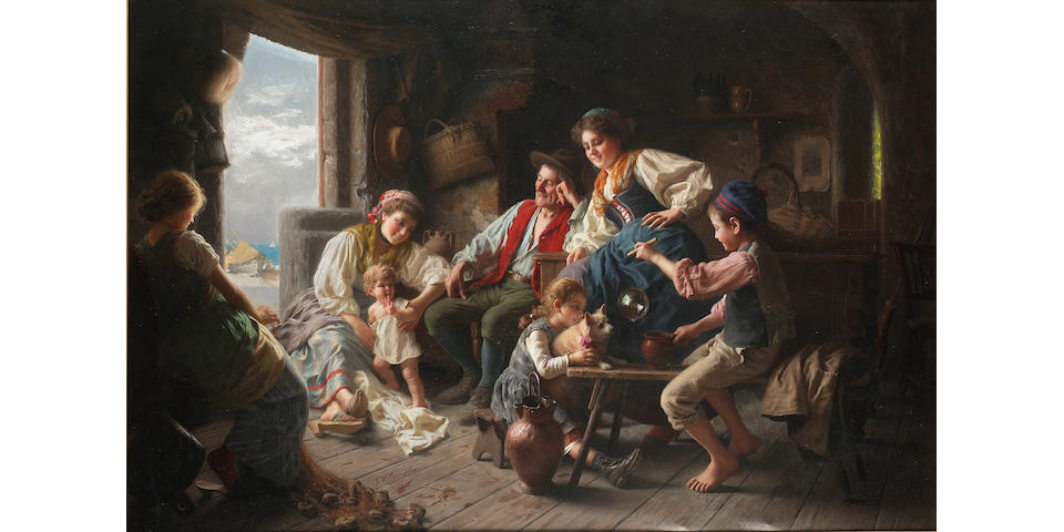 Giovanni Battista Torriglia (Italian 1858-1937) The fisherman's family 74 x 110 cm. (29 1/4 x 43 1/4
