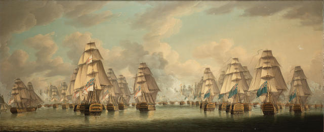 Robert Dodd (British, 1748-1815) The Battle of Trafalgar – the two British columns going into action; Admiral Dumanoir's surviving French Squadron escaping the carnage each 63.5 x 152.4cm. (25 x 60in.), (2).