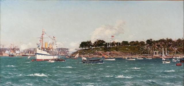 Eduardo Federico de Martino (Italian, 1838-1912) The chartered Royal Yacht ?Ophir? disembarking Thei