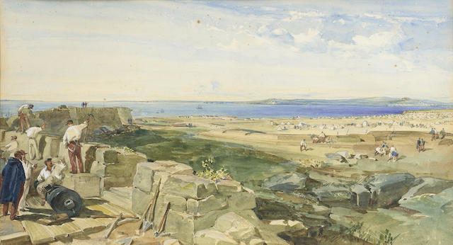 William Simpson R.I., R.B.A., (British, 1823-1899) The new defences, Yenikale, Crimea 28.3 x 50.2 cm