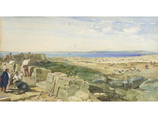 William Simpson R.I., R.B.A., (British, 1823-1899) The new defences, Yenikale, Crimea 28.3 x 50.2 cm. (11 1/8 x 19 3/4 in.)