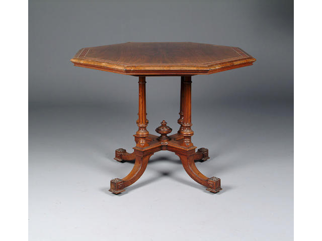 A Victorian rosewood octagonal centre table,