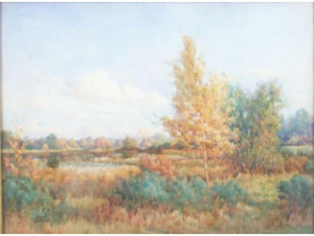 George Gordon Byron Cooper (died 1933) Autumn at the lake's edgeSigned, watercolour,