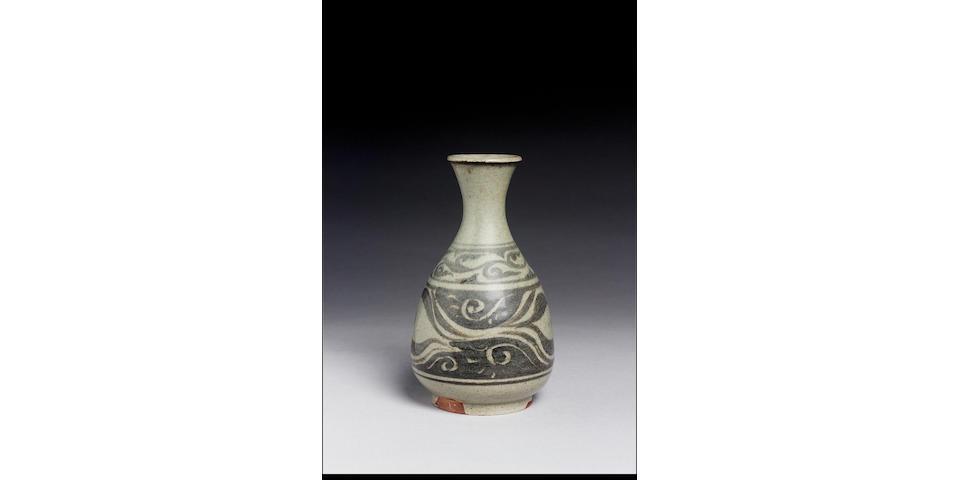 Bernard Leach stoneware vase:- greyish/green with scroll design.