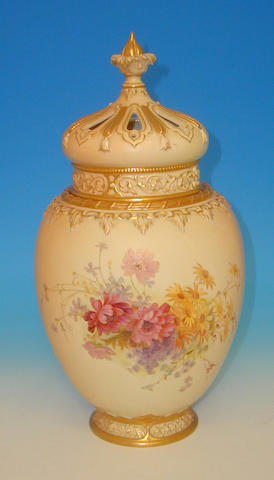 A large Royal Worcester pot-pourri vase and cover,