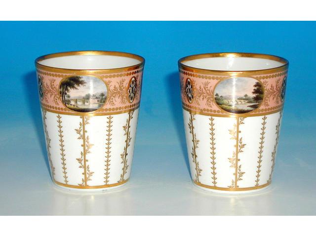 A pair of Flight & Barr beakers,