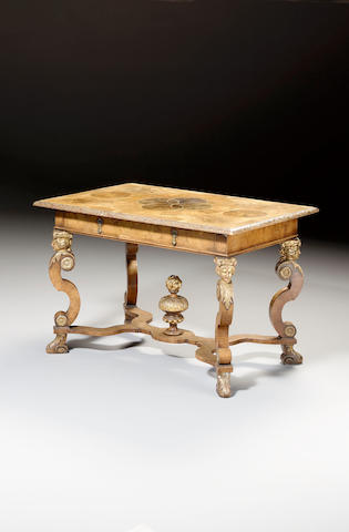 A William and Mary style walnut, oyster veneered and parcel gilt Side Table