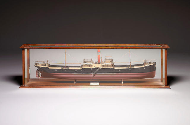 A Good Mirror Backed Builder's Half Model of the SS MONITORIA 1909 217 x 28 x 58cm (85.5 x 11 x 23in)