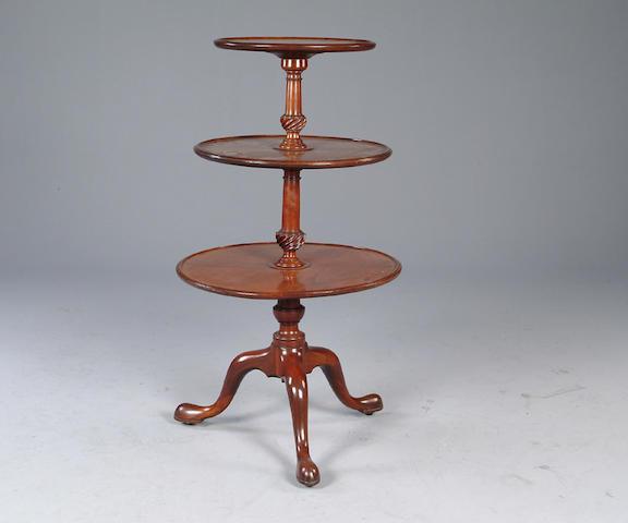A George III mahogany three tier dumb waiter,