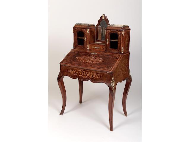 A late Victorian burr walnut and marquetry inlaid bonheur du jour, 141cm x 80.5cm x 53cm,