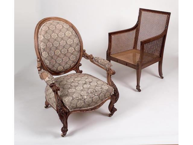 A Regency style mahogany and caned bergere armchair,