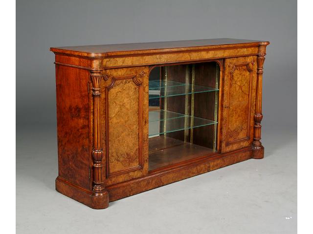 A Victorian burr walnut dwarf side cabinet,