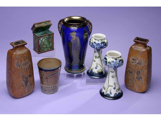 A pair of Macintyre Florian Ware vases