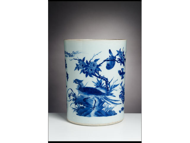 A large and impressive late Transitional blue and white brushpot, bitong Shunzhi