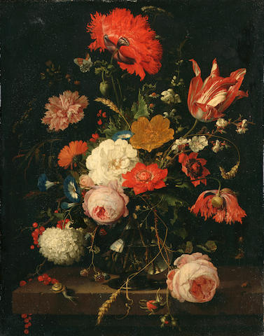 Abraham Mignon A still life of roses, poppies, a parrot tulip, convolvulus, a carnation, blackberries, redcurrants, ears of corn, cow parsley and other flowers in a glass vase on a stone ledge, surrounded by numerous insects, a butterfly, caterpillars, a snail and a spider47 x 36.5 cm. (18½ x 14 3/8 in.) with 2 cm. extension to the sides