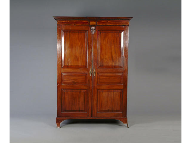 A George III mahogany Channel Islands wardrobe