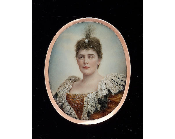 Ernest Rinzi, Lady Randolph Churchill (1854-1921), née Jerome, wearing gold dress with white lace collar and aigrette in her hair