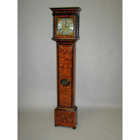 A 17th century walnut and floral marquetry longcase clock