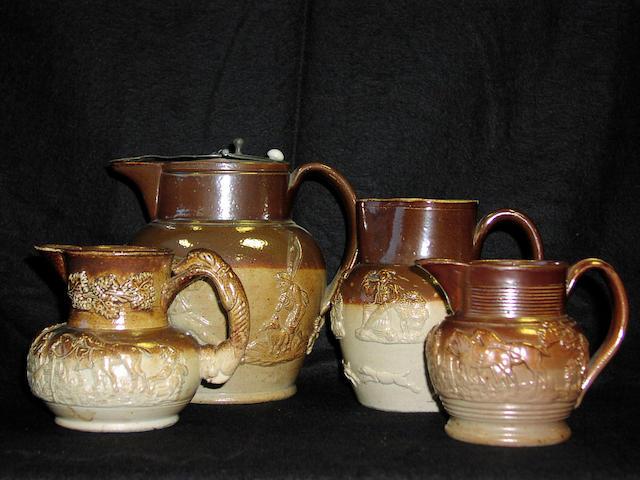 A Mortlake two tone brown salt glazed stoneware jug