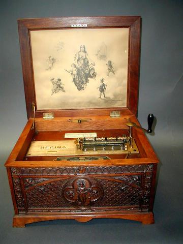 A Regina style 9 disc musical box,