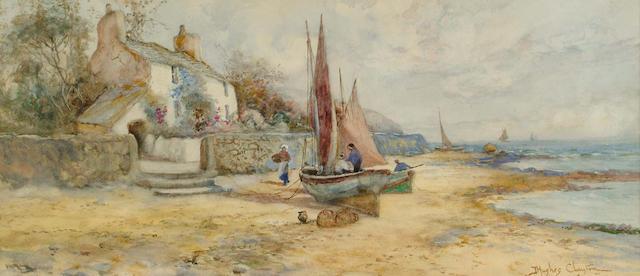 J.Hughes Clayton (British, 1891-1929) Low tide at Camaes; Figures on a beach, 21.5 x 49 cm, (2).