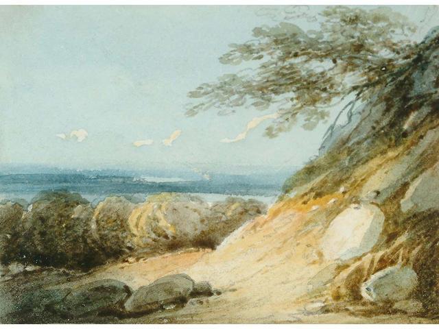 George Chinnery (British, 1774-1852) A rocky hillside landscape 10.5 x 7.6 cm.