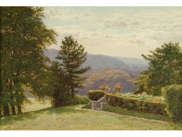 William Biscombe Gardner (British, c.1847-1919) View over a wooded landscape 18 x 26.5 cm.