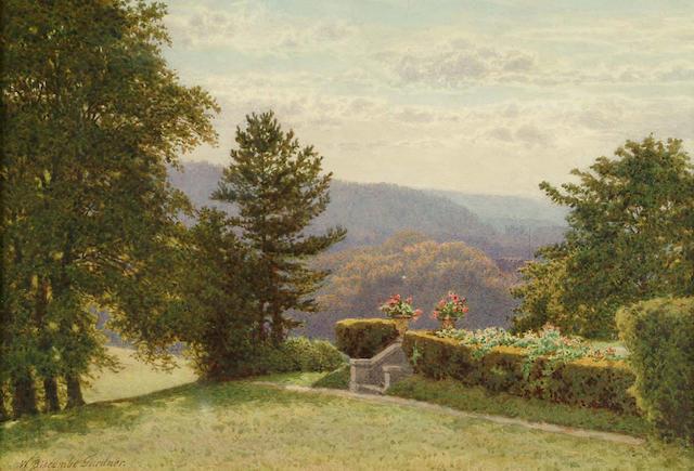 William Biscombe Gardner (British, c.1847-1919) View over a wooded landscape 18 x 26.5 cm.