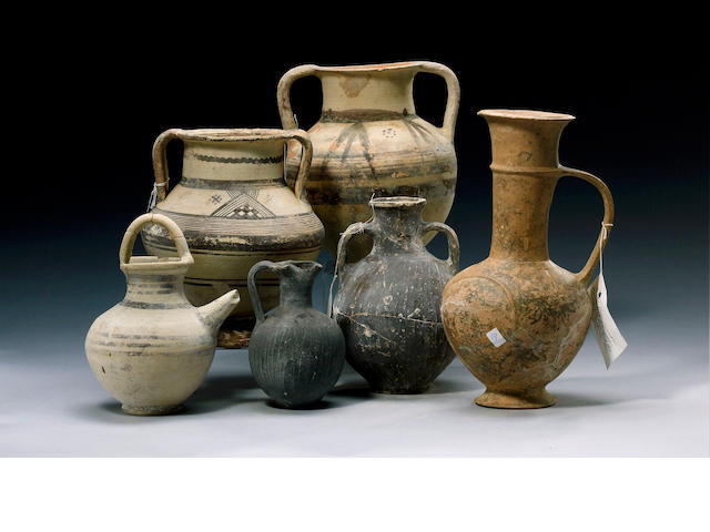 Six Cypriot vessels including amphorae and jugs