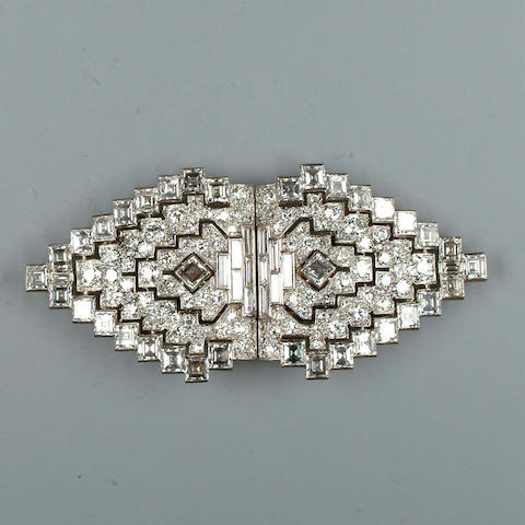 An Art Deco diamond double clip brooch,