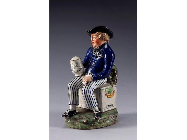 A Pearlware 'Small Sailor' Toby jug, circa 1820,