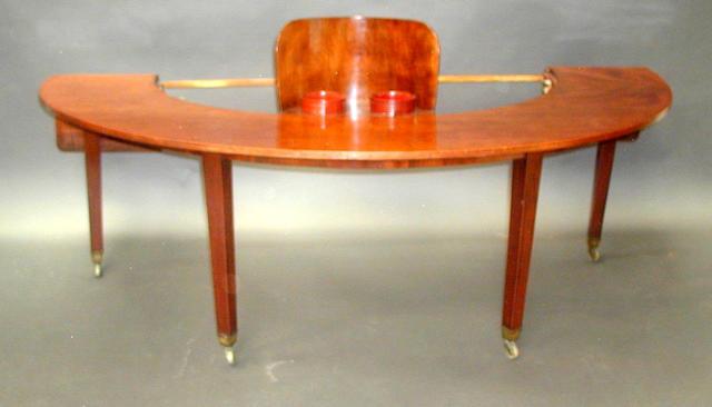 GEORGIAN MAHOGANY SEMI-CIRCULAR WINE TABLE c. 1790. DE-SILICONED BY COLIN HOLCOMBE SEPTEMBER 92