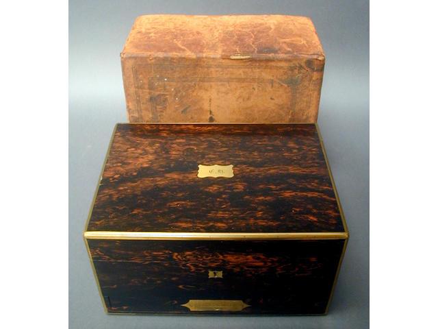 A Victorian coromandel wood rectangular dressing case,