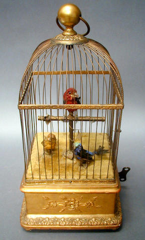 An early 20th Century singing birds-in-cage,