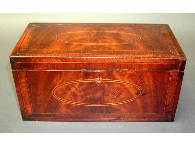 A George III mahogany and inlaid rectangular tea caddy,