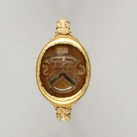 A 16th century gold and rock crystal signet ring South German
