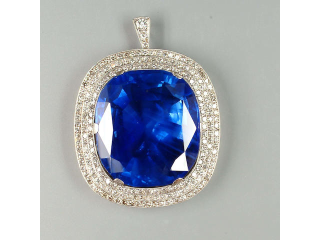An impressive sapphire and diamond brooch