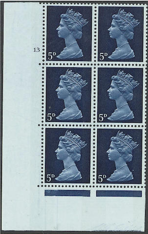 1967-70 Sterling Machins: Sheet issues: 5d. in a cylinder 13 no dot block of six, fine and very scarce. (1959)