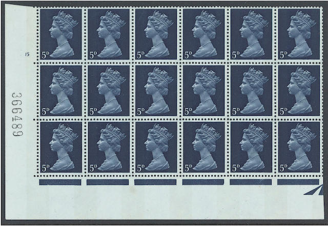 1967-70 Sterling Machins: Sheet issues: 5d. PCP + two bands in a cylinder 15 no dot block of 18 (6 x 3), tiny wrinkle on one otherwise fine, a very rare piece, possibly the largest known multiple of this scarce printing. (1962)