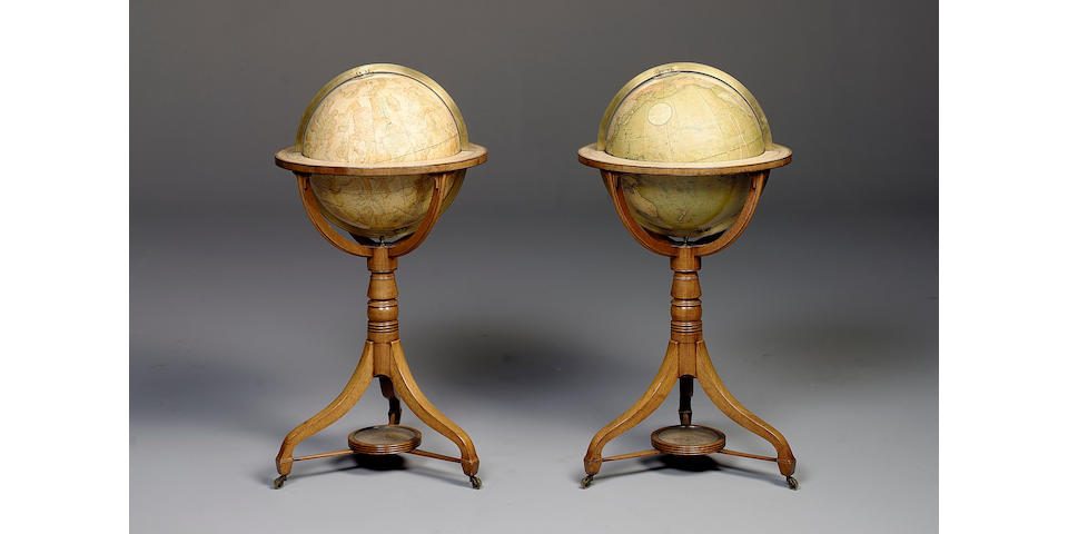 A Good Pair of Cary's 15-Inch Terrestrial and Celestial Globes on Stands,  published 1831, (2)
