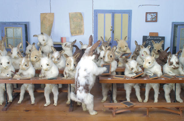 """The Walter Potter Tableau """"Rabbits' Village School"""", English, late 19th century,"""