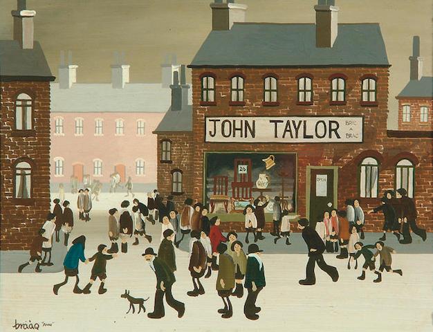 "Brian Shields (Braaq) (1951-1997) ""John Taylor's Bric-a-Brac Shop"" 19 x 24.5cm"