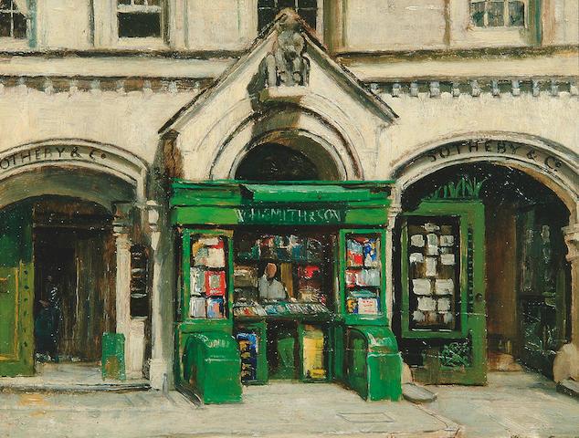"""John Cole (1903-1975)  """"Sothebys, Bond Street"""" 28.5 x 37.5cm"""