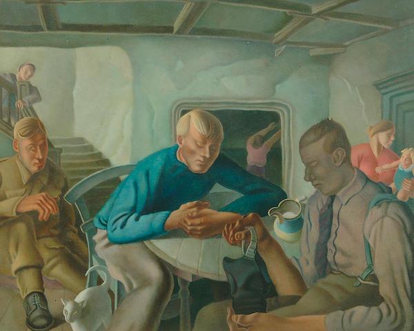 "Harry Epworth Allen R.B.A., P.S. (1894-1958) ""The Air-Raid Shelter"" 49 x 61cm"