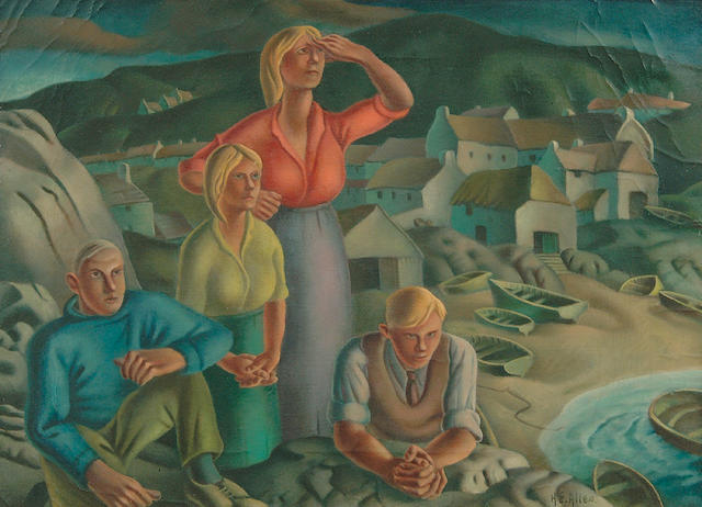 Harry Epworth Allen R.B.A., P.S. (1894-1958)  A figure group looking out to see on a southern Irish coast 38 x 54cm